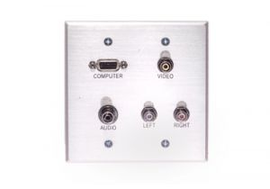 VGA, 3.5mm, Composite A/V Wall Plate- Double Gang - Stainless Steel