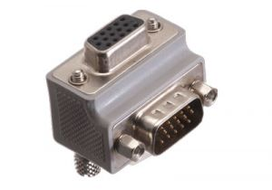 HD15 VGA Male to HD15 VGA Female Low Profile Right Angle Adapter - Reverse Orientation