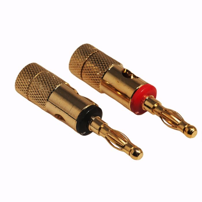 1 Pair Audio Speaker Wire Cable Closed Screw Banana Plug Connector Gold Plated