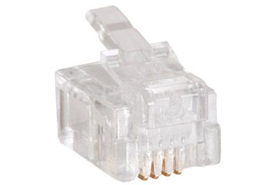6P4C 500 Pack RJ11 Telephone Phone Line Plug Connector for Stranded Flat Wire
