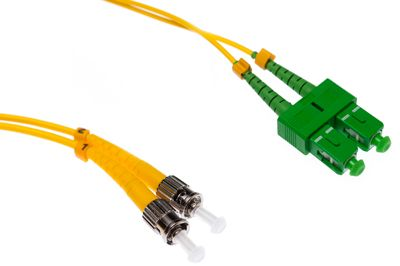 SC-APC to ST-UPC 9/125 Singlemode Duplex Fiber Patch Cable - OS2