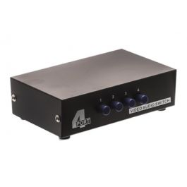 4 way composite rca audio video input selector switch box 4in 1out showmecables com