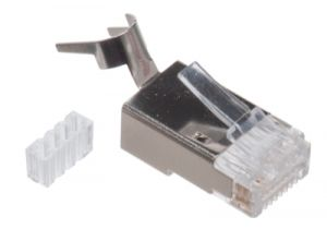 RJ45 Cat6a / Cat7 Shielded Connector - 8P8C - Solid & Stranded Cable - 10 Pack