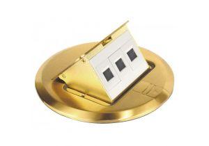 Keystone Floor Box Kit - 3 Port - Brass